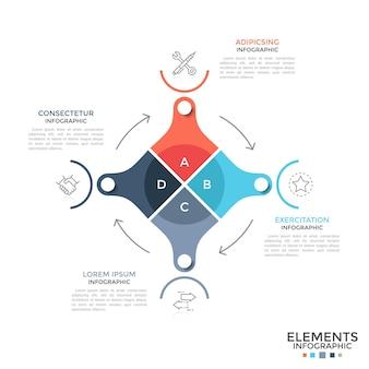 Schemat kołowy podzielony na 4 kolorowe części połączone strzałkami, symbolami liniowymi i miejscem na tekst. pojęcie cyklu produkcji przemysłowej. nowoczesny plansza projekt układu. ilustracja wektorowa.