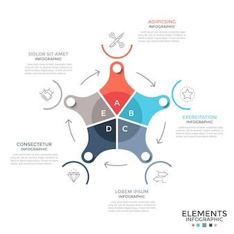 Schemat kołowy podzielony na 5 kolorowych części połączonych strzałkami, symbolami liniowymi i miejscem na tekst. pojęcie cyklu produkcji przemysłowej. nowoczesny plansza projekt układu. ilustracja wektorowa.