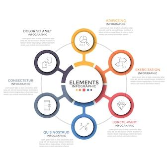Schemat kołowy. sześć kolorowych okrągłych elementów z liniowymi symbolami umieszczonymi wokół środka. koncepcja 6 cech projektu startowego. szablon projektu nowoczesny plansza. ilustracja wektorowa.
