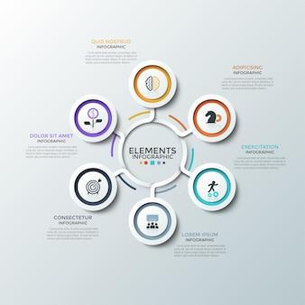 Schemat kołowy. sześć papierowych białych okrągłych elementów z kolorowymi ramkami i płaskimi ikonami umieszczonymi wokół środka. koncepcja 6 aspektów planu startowego. plansza projekt układu. ilustracja wektorowa