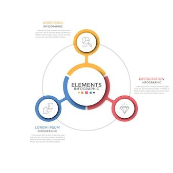 Schemat kołowy. trzy kolorowe okrągłe elementy z liniowymi symbolami wewnątrz umieszczone wokół środka. koncepcja 3 cech projektu startowego. szablon projektu nowoczesny plansza. ilustracja wektorowa.