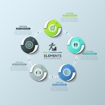 Schemat kołowy z 5 okrągłymi elementami połączonymi liniami i polami tekstowymi, nowoczesny układ plansza projekt.