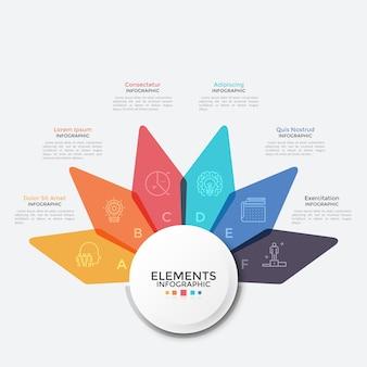 Schemat kwiatów z pięcioma kolorowymi przezroczystymi płatkami. szablon projektu nowoczesny plansza. koncepcja 6 cech projektu startowego. ilustracja wektorowa kreatywnych do prezentacji biznesowych, raport.