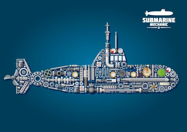 Schemat mechaniki łodzi podwodnej z podwodnym okrętem wojennym złożonym z broni i detali