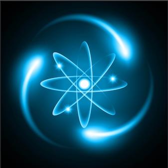 Schemat niebieskiego lśniącego atomu.