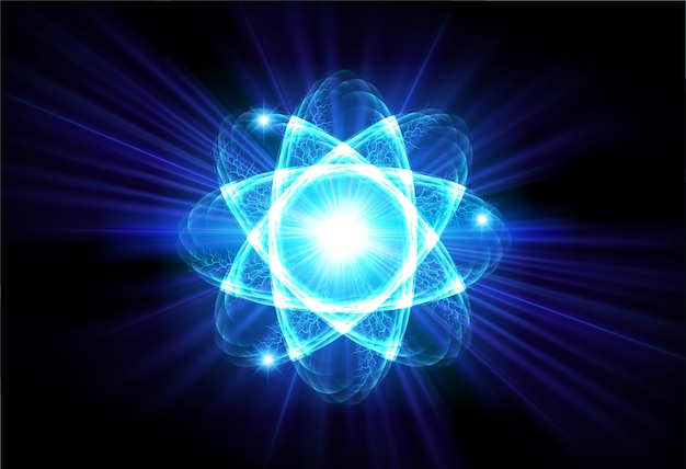 Schemat niebieskiego lśniącego atomu