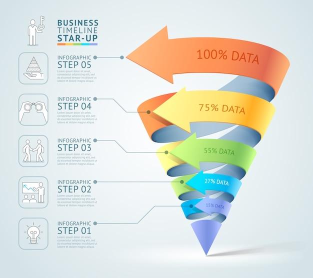 Schemat nowoczesny stożek 3d schody biznes.