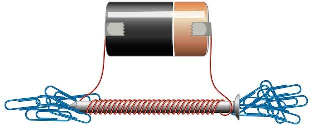 Schemat obwodu z baterią i nakrętką