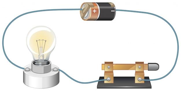 Schemat obwodu z baterią i żarówką