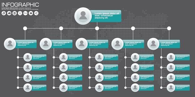 Schemat organizacyjny firmy z ikonami ludzi. ilustracji wektorowych.
