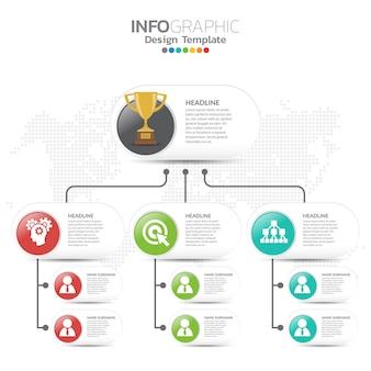 Schemat organizacyjny z ikonami biznesu.