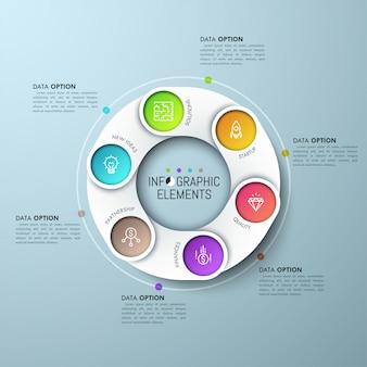 Schemat pierścieniowy z nakładającymi się białymi częściami, ikonami na kolorowym tle i polami tekstowymi.