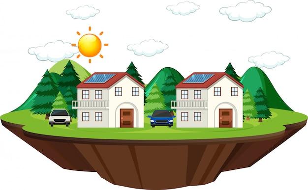 Schemat przedstawiający działanie ogniwa słonecznego w domu