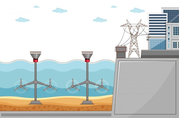Schemat przedstawiający elektrownię wodną wytwarzającą energię elektryczną w mieście