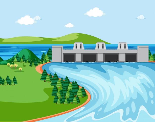 Schemat przedstawiający tamę i rzekę