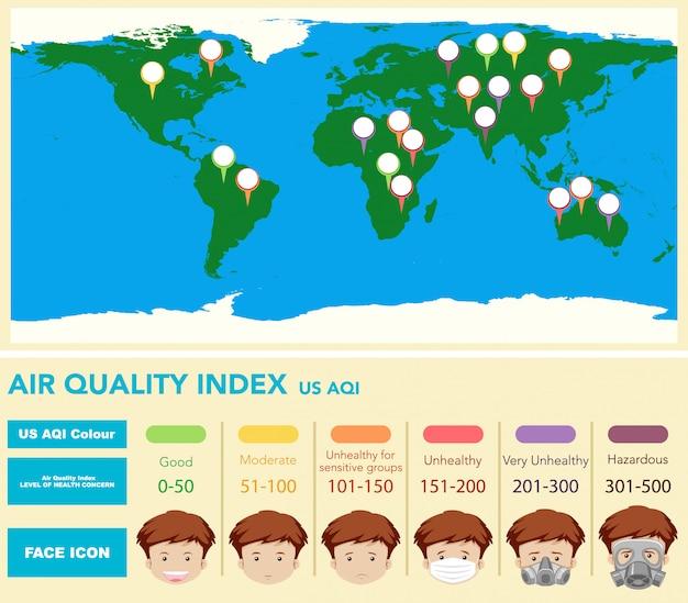 Schemat przedstawiający wskaźnik jakości powietrza z mapą świata