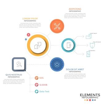 Schemat przepływu pracy lub schemat blokowy. kolorowe okrągłe i kwadratowe elementy oraz liniowe ikony połączone liniami i strzałkami, miejsce na tekst. szablon projektu nowoczesny plansza. ilustracja wektorowa do raportu.
