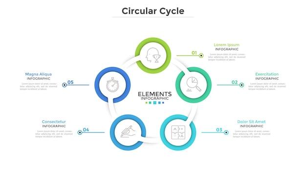 Schemat przypominający pierścionek z 5 okrągłymi białymi elementami. koncepcja cyklicznego procesu biznesowego z pięcioma krokami. szablon projektu czysty plansza. nowoczesne ilustracji wektorowych do prezentacji.