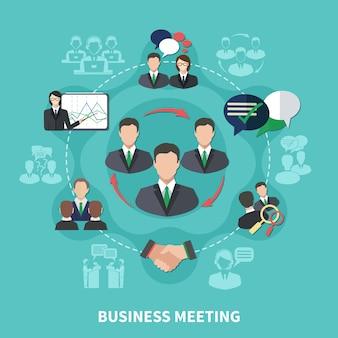 Schemat składu spotkania biznesowego