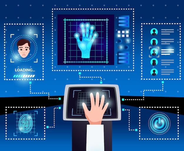 Schemat technologii komputerowych identyfikacji ze zintegrowanym interfejsem dotykowym zapewniającym bezpieczny dostęp dla autoryzowanych użytkowników na niebieskim tle