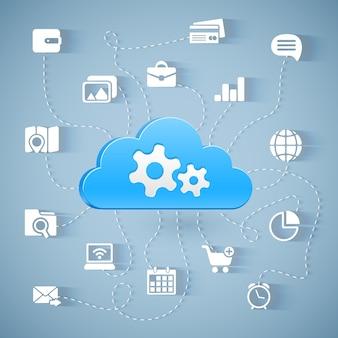 Schemat technologii przetwarzania w chmurze z długimi cieniami