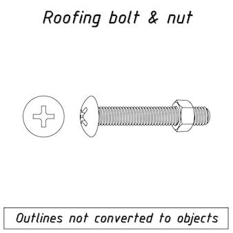 Schemat zarysu śrub i nakrętek dachowych