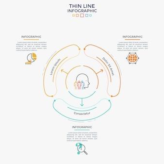 Schemat ze strzałkami wskazującymi 3 zaokrąglone elementy, płaskie symbole i pola tekstowe. koncepcja wyboru kierunku rozwoju pomiędzy trzema opcjami. szablon projektu plansza. ilustracja wektorowa.