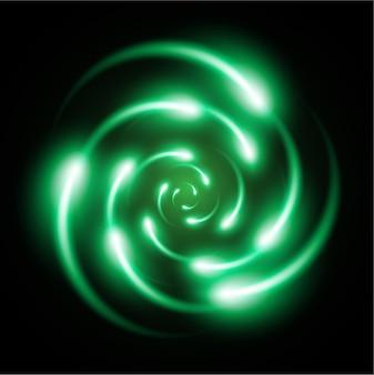 Schemat zielonego lśnienia atomu.