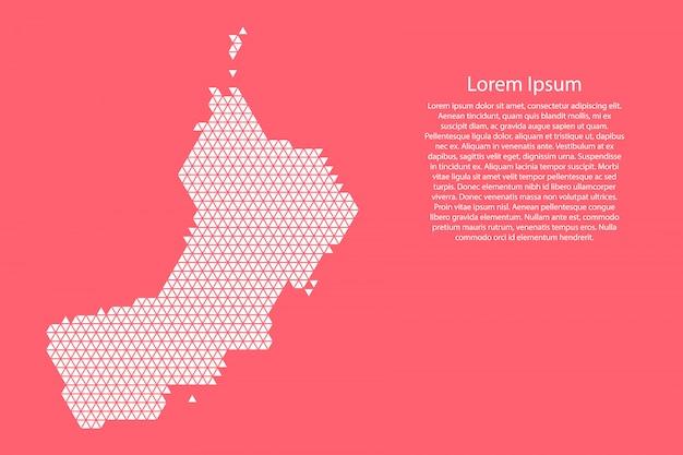 Schematyczna mapa omanu wykonana z czerwonych trójkątów
