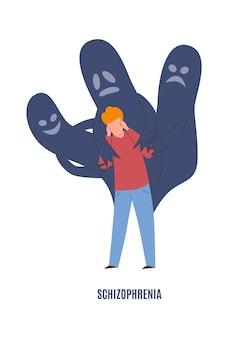 Schizofrenia zaburzenia psychiczne. smutny płacz człowieka w panice z duchami, presją emocjonalną i lękiem psychicznym, negatywnymi emocjami przed psychoterapią koncepcja kreskówka płaska ilustracja wektorowa