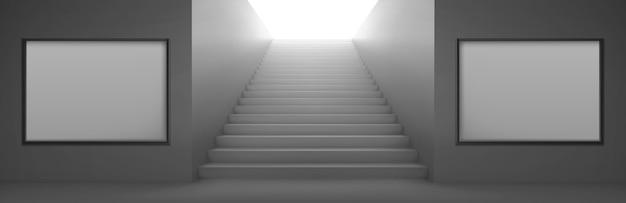 Schody 3d do oświetlania i puste białe ekrany lcd do reklamy na ścianach. wyjście z metra lub metra, konstrukcja klatki schodowej, architektura budynku drabinowego, realistyczna ilustracja