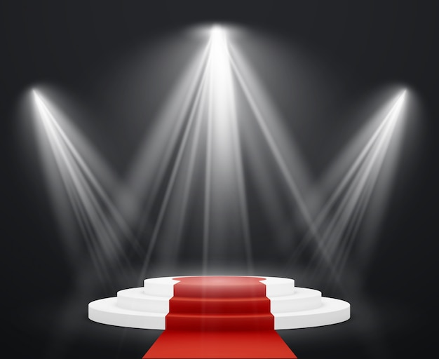 Schody 3d z czerwonego dywanu. podium na scenie w centrum uwagi na celebrytę nagradza schody do sukcesu