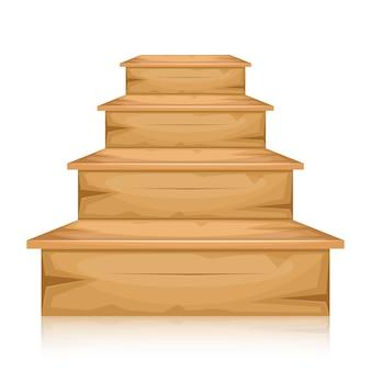 Schody drewniane ilustracja na białym tle