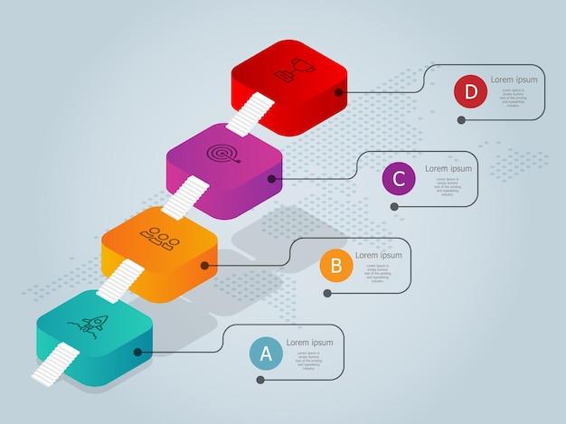 Schody lub drabina do sukcesu biznesowego szablonu elementu infografiki