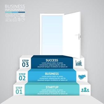 Schody otwarte drzwi wektor infografika prezentacja szablon schemat koło wykres z 3 opcjami