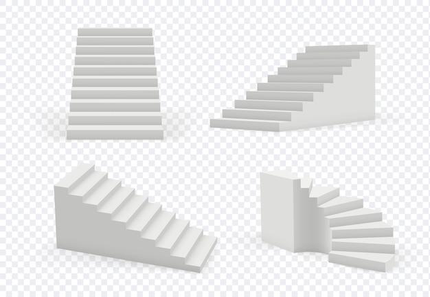Schody realistyczne. obiekt architektoniczny schody w górę kroki wektor kolekcja nowoczesnych szablonów. 3d realistyczne schody wewnętrzne, ilustracja schodów w kierunku architektury