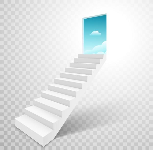 Schody z otwartymi drzwiami do nieba, schody drabinowe do koncepcji nieba.