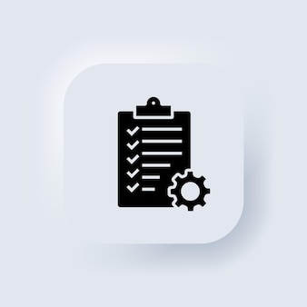 Schowek z ikoną na białym tle biegów. ikona listy kontrolnej pomocy technicznej. koncepcja zarządzania. rozwój oprogramowania. biały przycisk sieciowy interfejsu użytkownika neumorphic ui ux. neumorfizm. wektor eps 10.