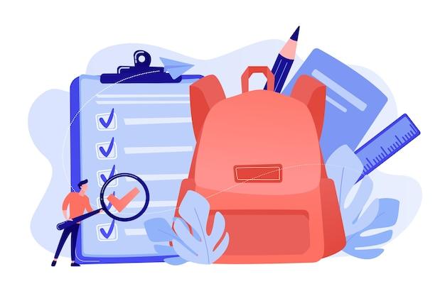 Schowek z listą rzeczy do zrobienia, duży plecak szkolny, linijka i uczeń z lupą. powrót do listy kontrolnej szkoły, lista papeterii, koncepcja planowania szkoły
