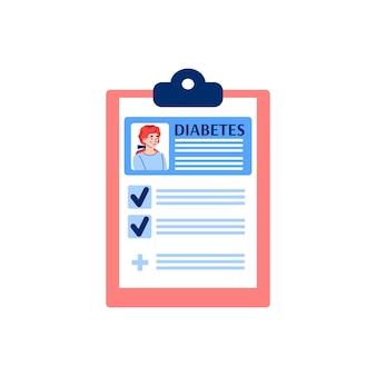 Schowek z zapisem płaskiej ilustracji pacjenta z cukrzycą na białym tle