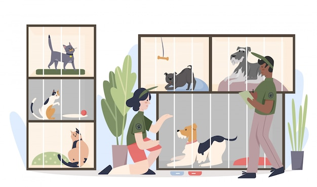 Schronisko dla zwierząt ze zwierzętami w klatkach. mężczyzna i kobieta wolontariuszy karmienia zwierząt kreskówka płaski ilustracja
