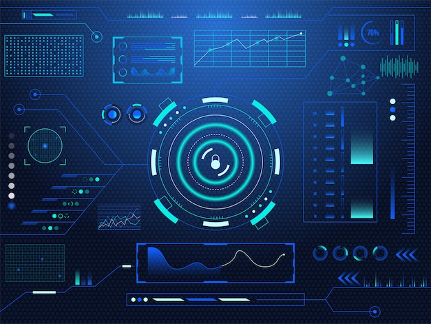 Sci-fi futurystyczny hud blokada deski rozdzielczej wyświetla tło ekranu rzeczywistości wirtualnej technologii.