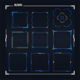 Sci fi nowoczesny futurystyczny interfejs użytkownika zestaw kwadratowych bloków. streszczenie hud