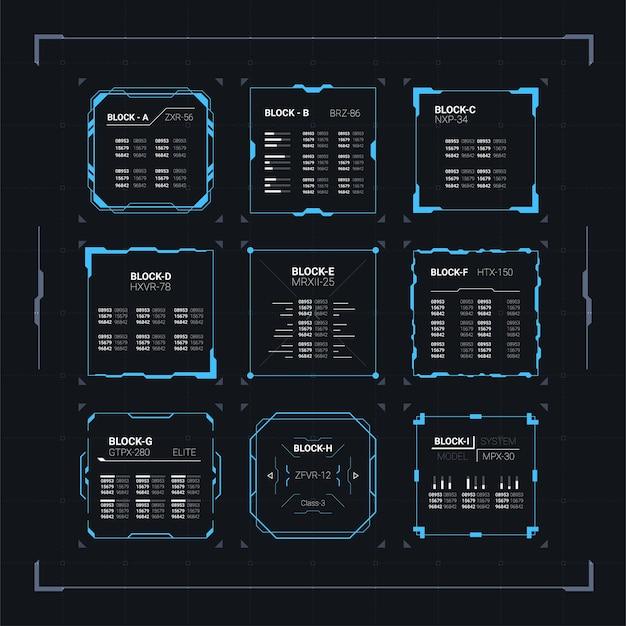 Sci fi nowoczesny futurystyczny interfejs użytkownika zestaw kwadratowych bloków z abstrakcją danych hud