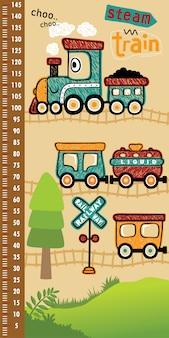 Ściana pomiaru wysokości z zabawną kreskówką z pociągiem parowym