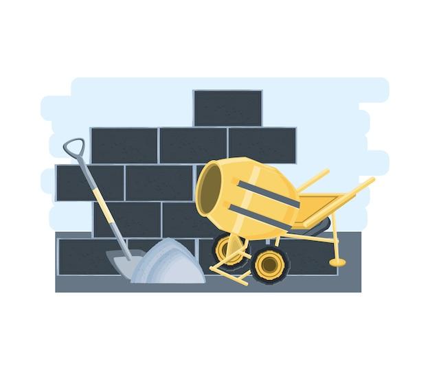 Ściana z cegieł i betoniarka oraz łopata