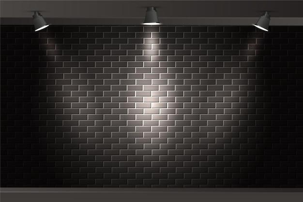 Ściana z cegieł z punktem zaświeca tło