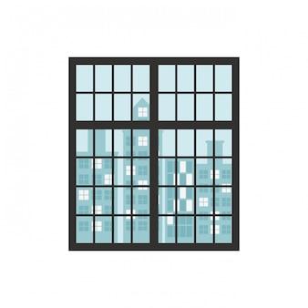 Ściana z oknami i budynkami