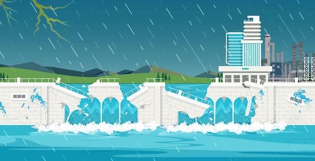 Ściana zapory została zerwana z powodu przepełnienia z powodu silnego monsunu