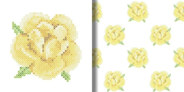Ściegiem krzyżykowym żółta róża nadruk i wzór bez szwu